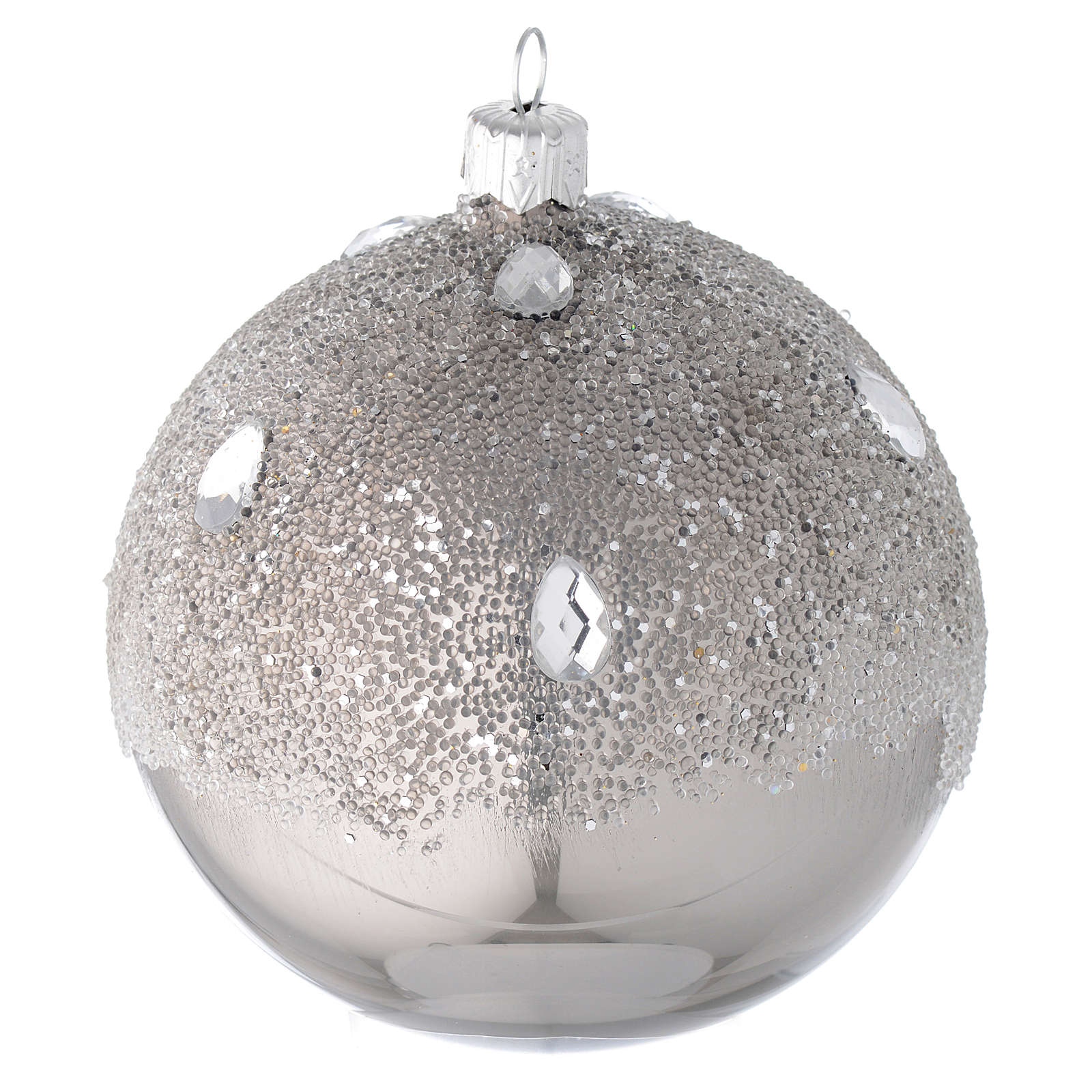 Bauble in silver blown glass with ice effect decoration 100mm 4