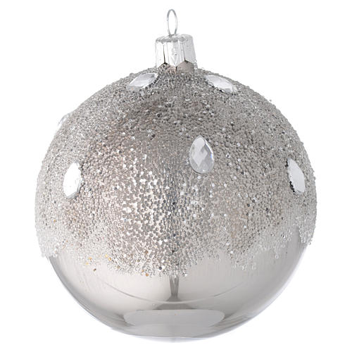 Bauble in silver blown glass with ice effect decoration 100mm 2