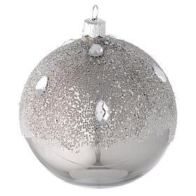 Bombka bożonarodzeniowa szkło koloru srebrnego 100mm s1