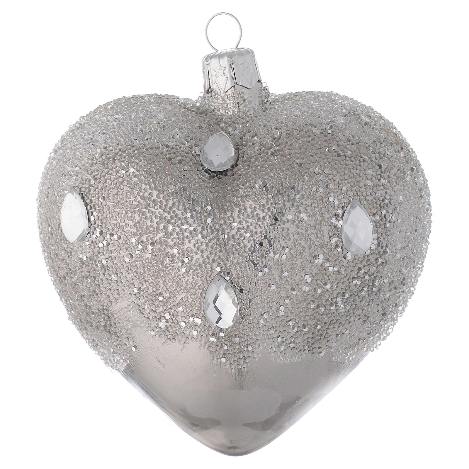 Heart Shaped Bauble in silver blown glass with ice effect decoration 100mm 4