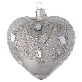 Heart Shaped Bauble in silver blown glass with ice effect decoration 100mm s2