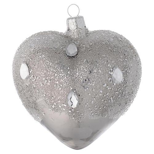 Bola para árbol de Navidad corazón de vidrio plata efecto hielo 100 mm 2