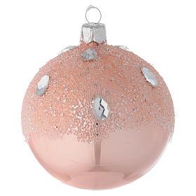 Ornement boule Noël verre rose effet glace 80 mm s1