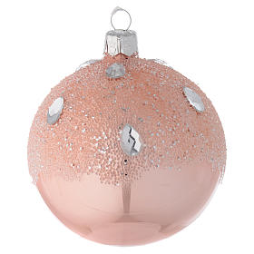 Bauble in pink blown glass with ice effect decoration 80mm s1