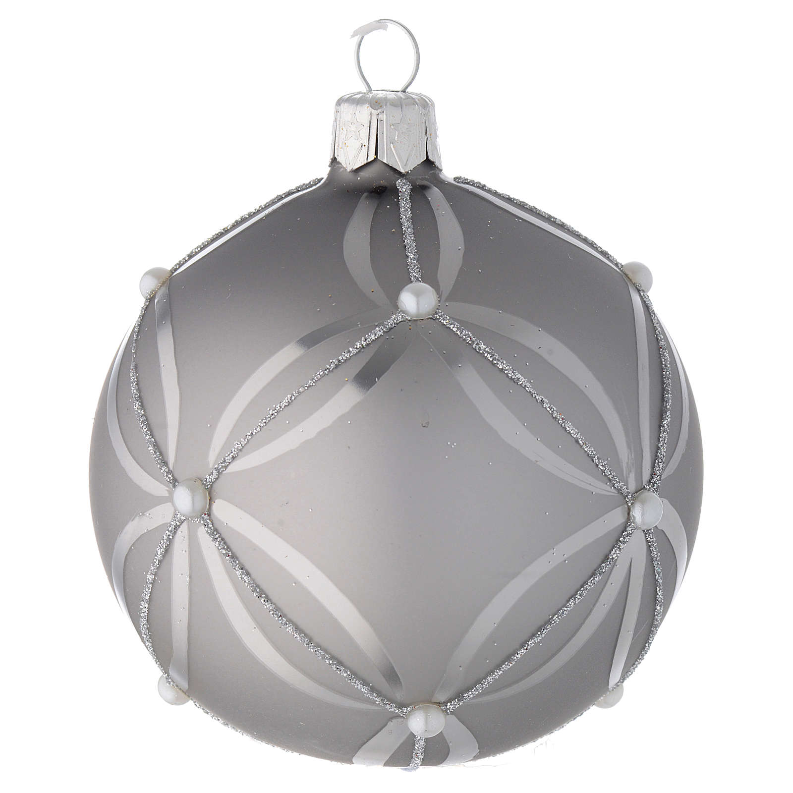 Bauble in silver blown glass with shiny and opaque decoration 80mm 4