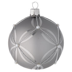 Bauble in silver blown glass with shiny and opaque decoration 80mm s2