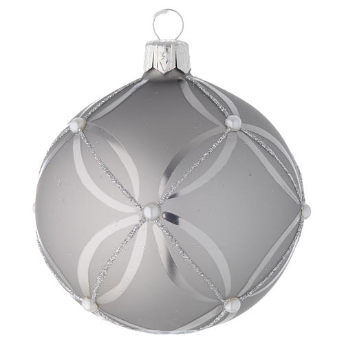Bauble in silver blown glass with shiny and opaque decoration 80mm 1