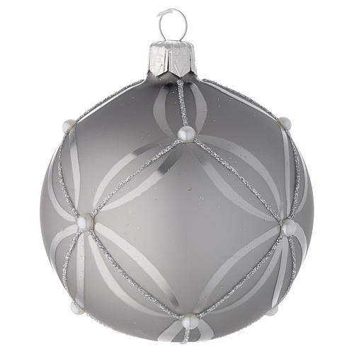 Bauble in silver blown glass with shiny and opaque decoration 80mm 2