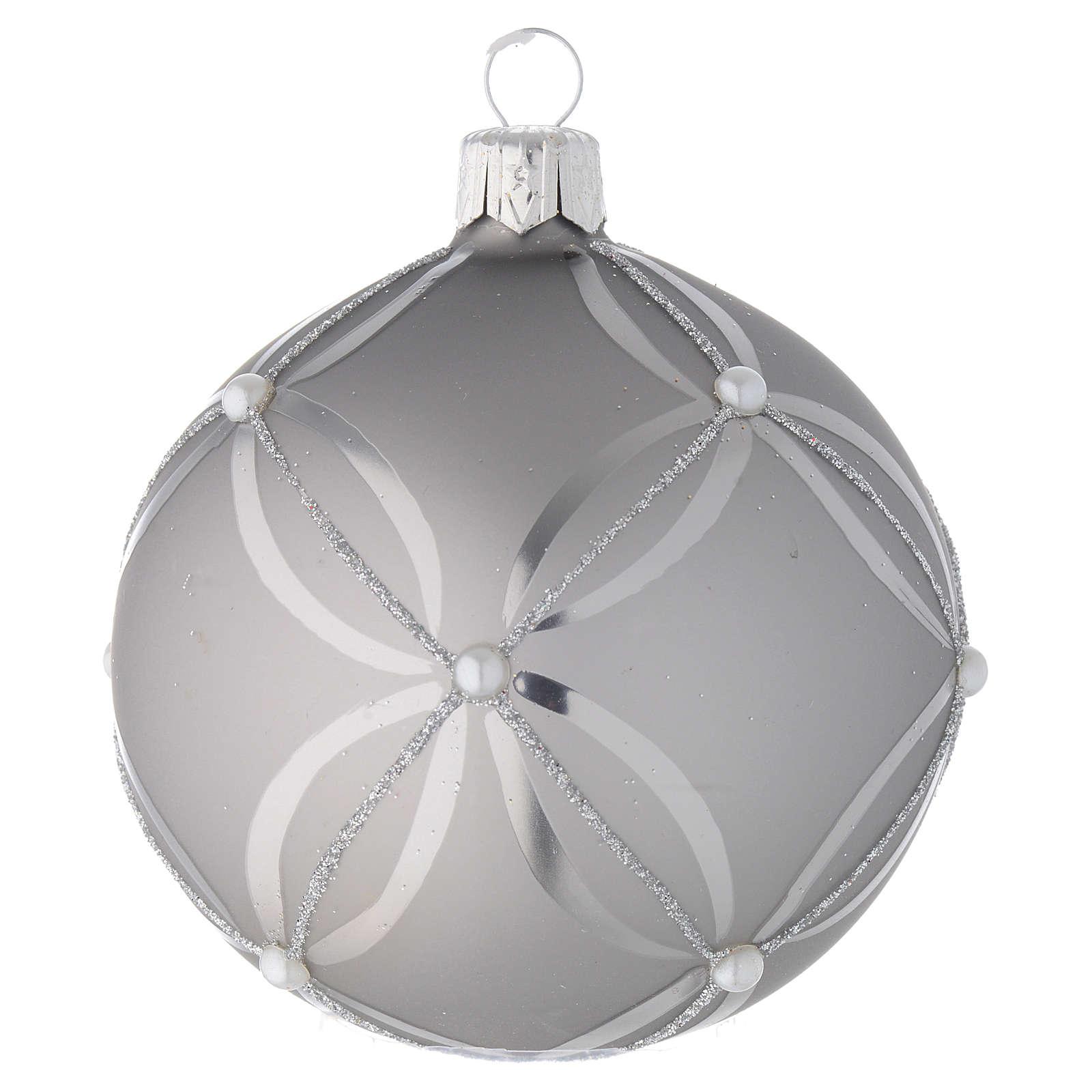 Addobbo vetro palla argento lucido/opaco 80 mm 4