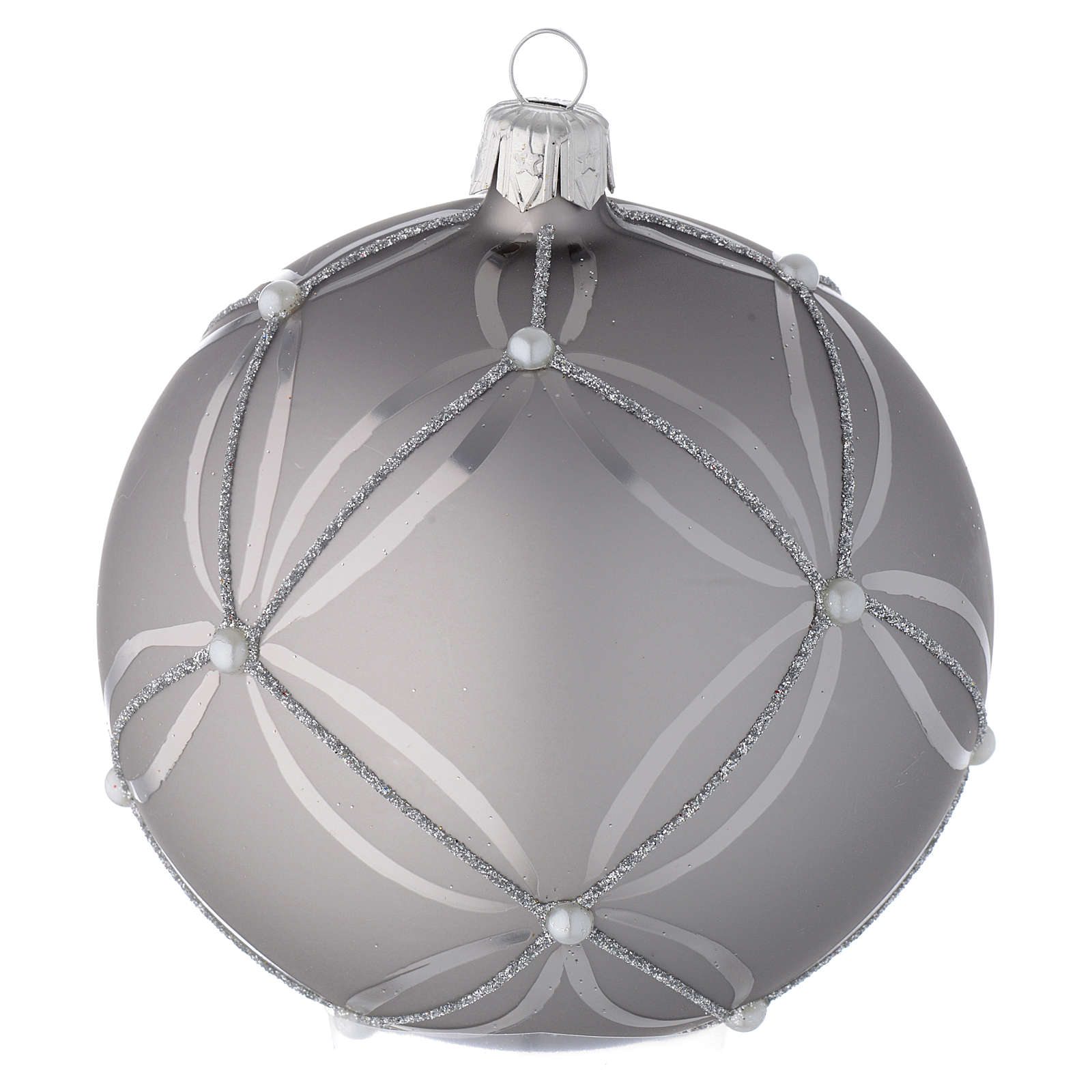 Bauble in silver blown glass with shiny and opaque decoration 100mm 4