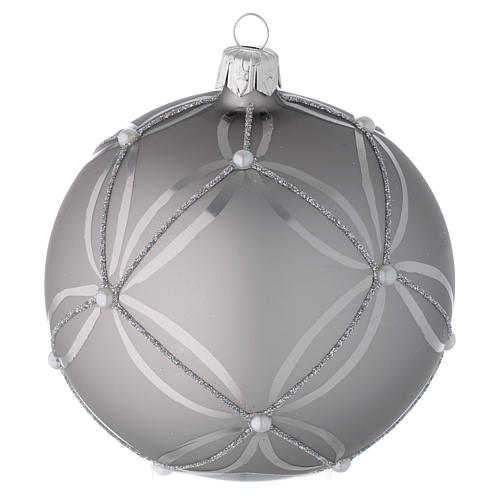 Bauble in silver blown glass with shiny and opaque decoration 100mm 2