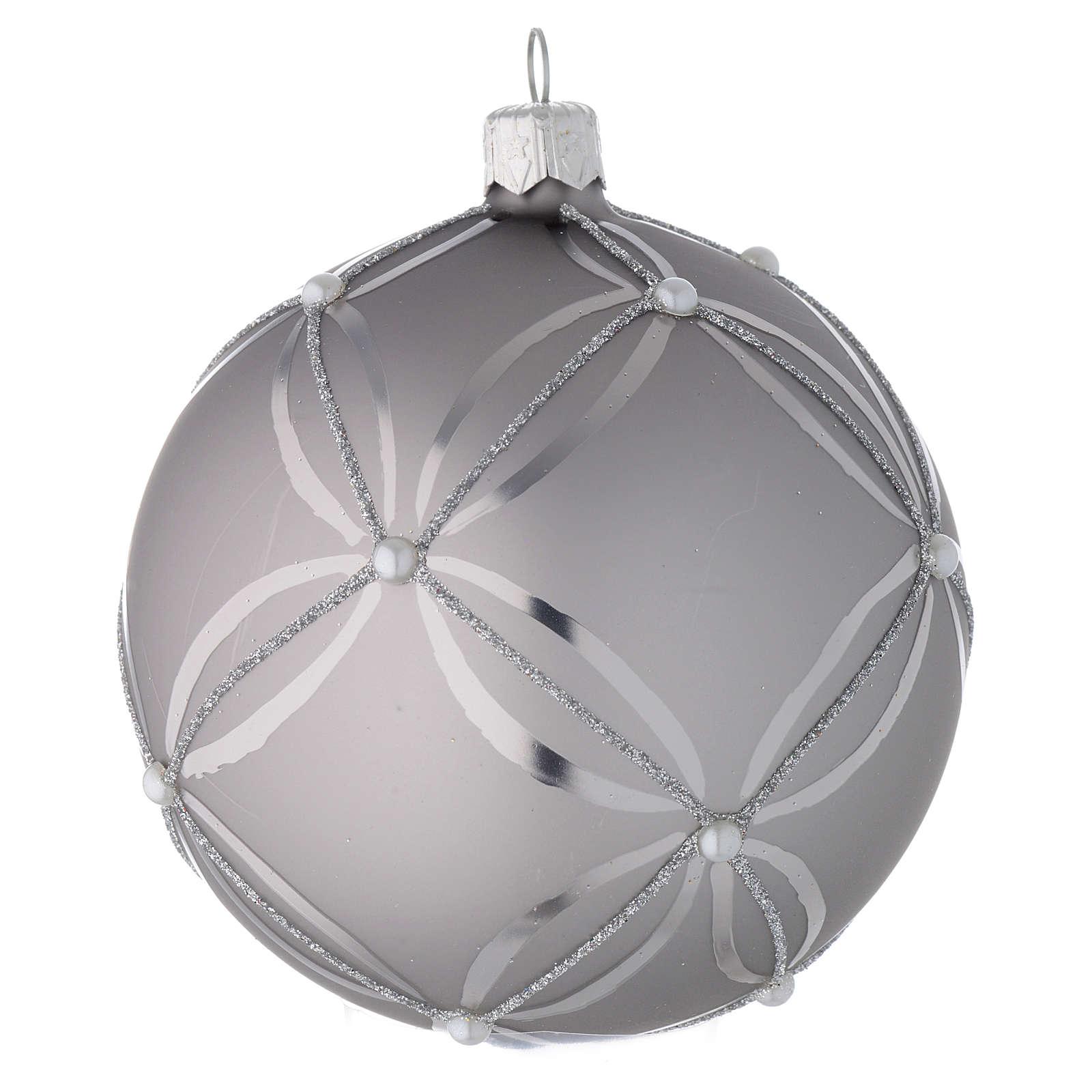 Bola para árbol de Navidad de vidrio plata lúcido/opaco 100 mm 4