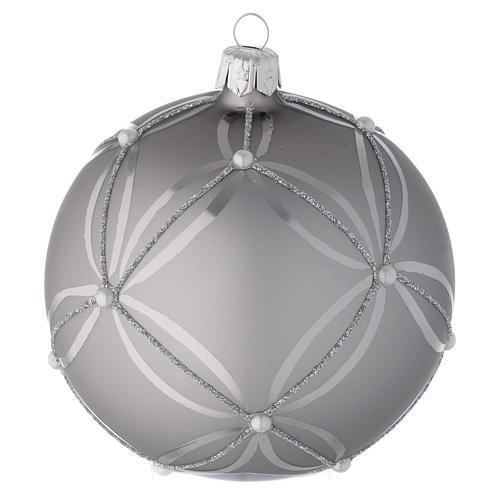 Bola para árbol de Navidad de vidrio plata lúcido/opaco 100 mm 2