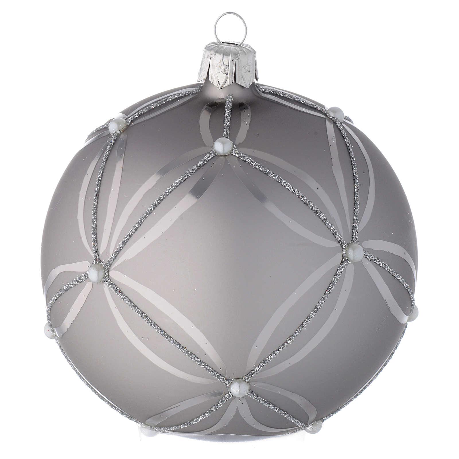 Bombka bożonarodzeniowa  szkło koloru srebrnego lśniąca/ matowa 100mm 4