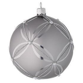 Bombka bożonarodzeniowa  szkło koloru srebrnego lśniąca/ matowa 100mm s1