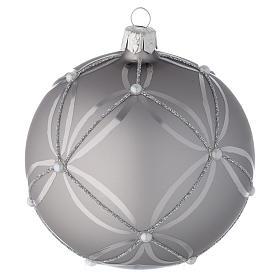 Bombka bożonarodzeniowa  szkło koloru srebrnego lśniąca/ matowa 100mm s2