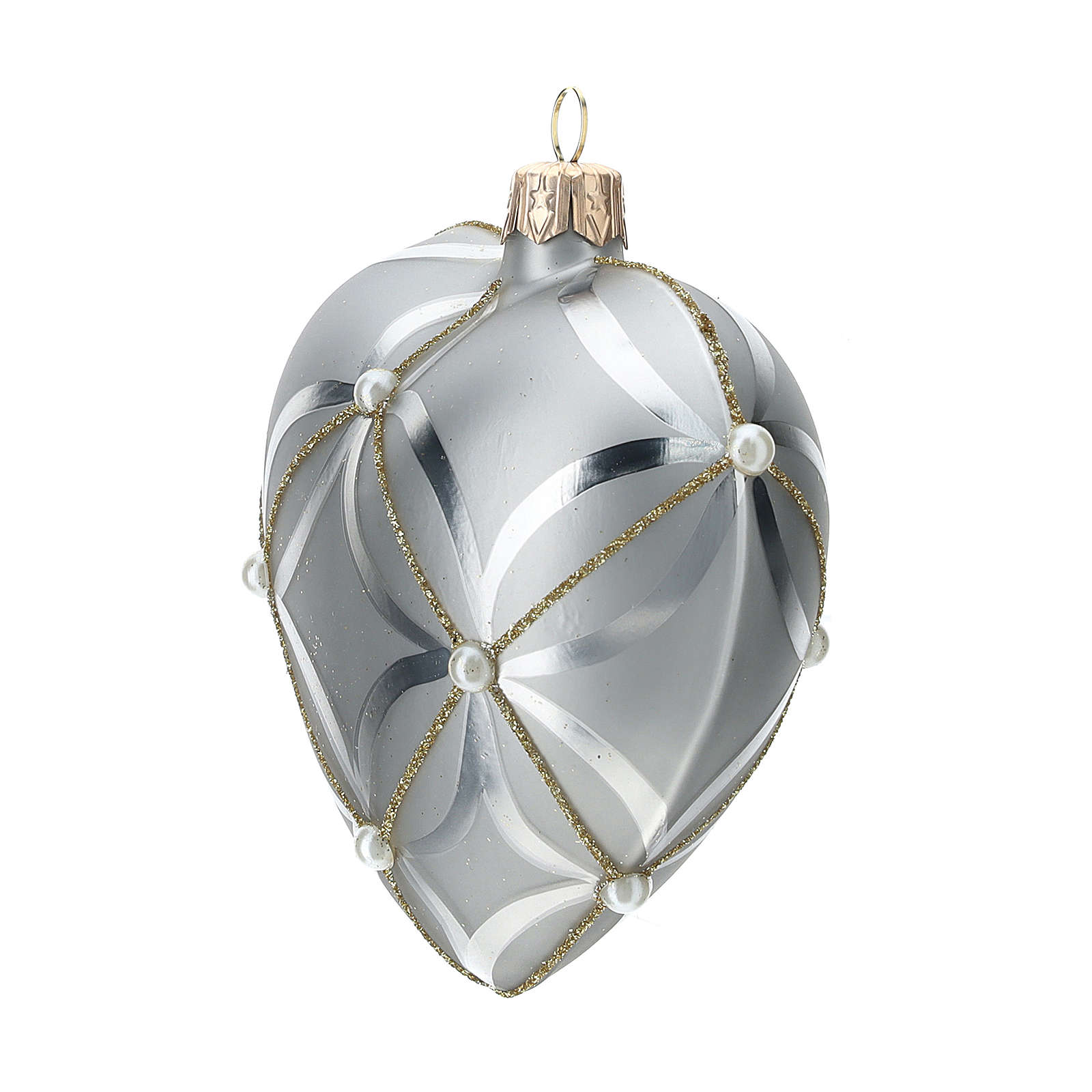 Heart Shaped Bauble in silver blown glass with shiny and opaque decoration 100mm 4