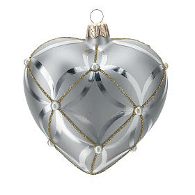 Heart Shaped Bauble in silver blown glass with shiny and opaque decoration 100mm s1