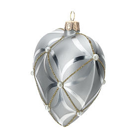 Heart Shaped Bauble in silver blown glass with shiny and opaque decoration 100mm s2
