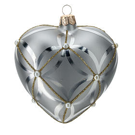 Heart Shaped Bauble in silver blown glass with shiny and opaque decoration 100mm s3