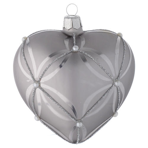 Heart Shaped Bauble in silver blown glass with shiny and opaque decoration 100mm 2