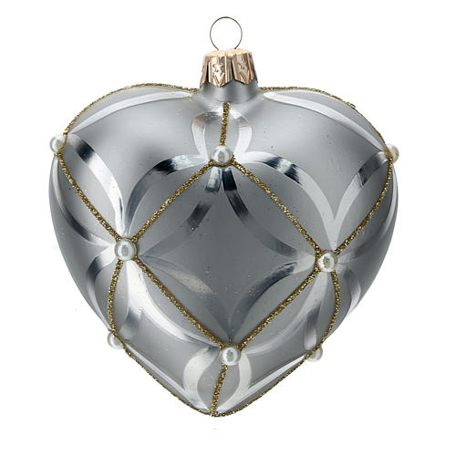 Heart Shaped Bauble in silver blown glass with shiny and opaque decoration 100mm 3