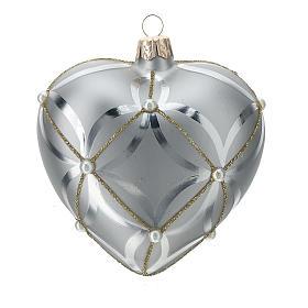 Bola de Navidad corazón de vidrio plata lúcido/opaco 100 mm s1
