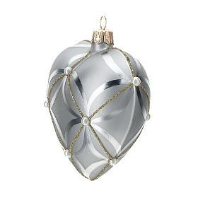 Bola de Navidad corazón de vidrio plata lúcido/opaco 100 mm s2