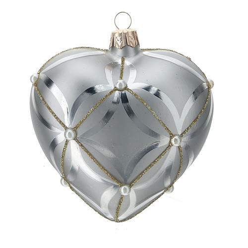 Bola de Navidad corazón de vidrio plata lúcido/opaco 100 mm 1