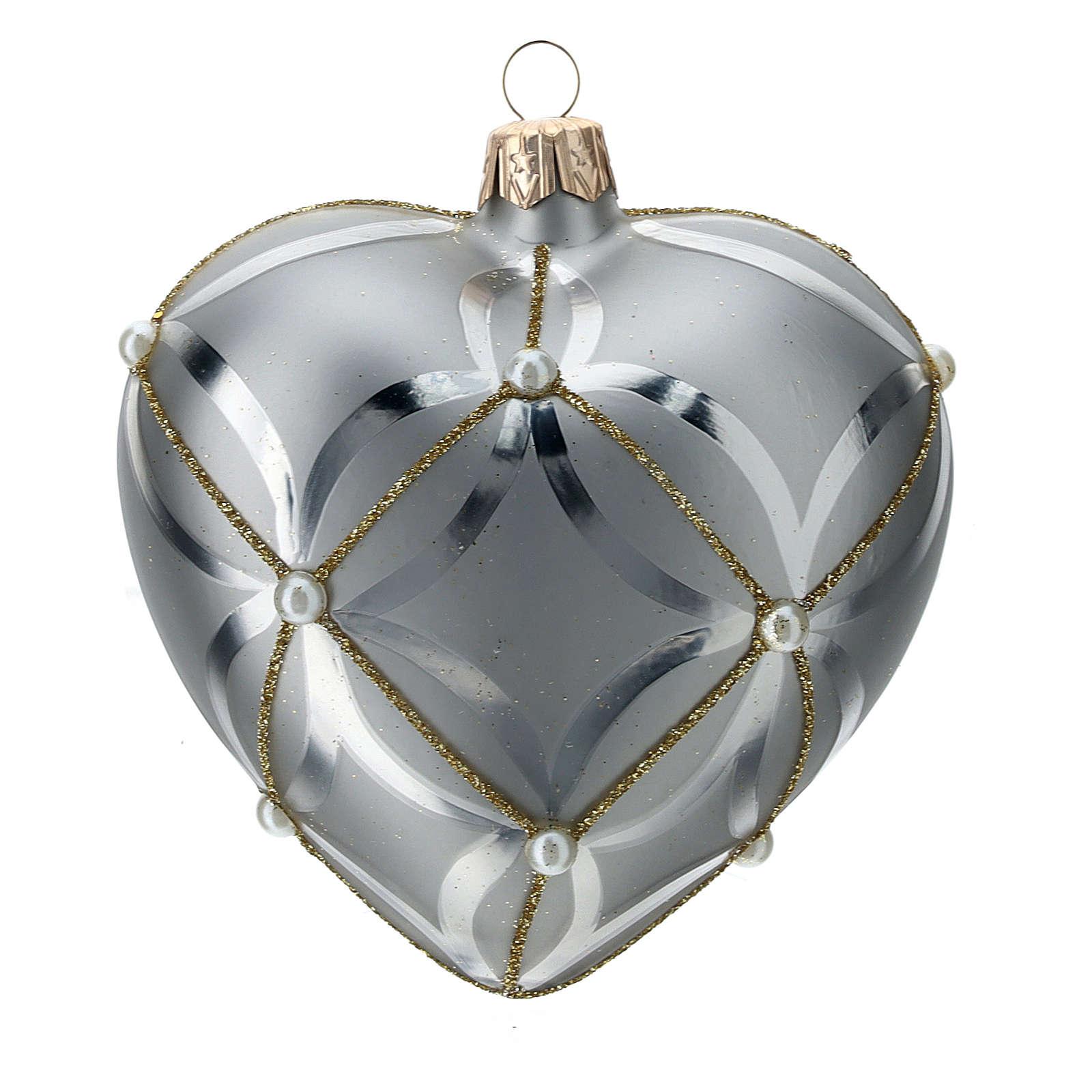 Ornement verre coeur argent brillant/mat 100 mm 4
