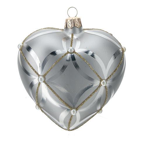 Ornement verre coeur argent brillant/mat 100 mm 1