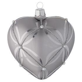 Bombka bożonarodzeniowa w kształcie serca szkło koloru srebrnego lśniąca/ matowa 100mm s2