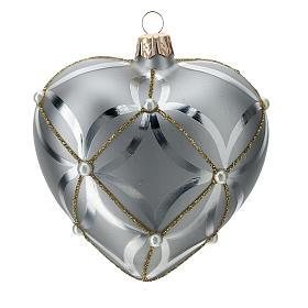 Bombka bożonarodzeniowa w kształcie serca szkło koloru srebrnego lśniąca/ matowa 100mm s3