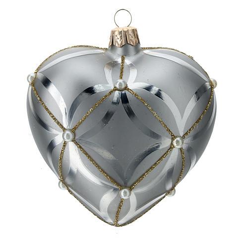 Bombka bożonarodzeniowa w kształcie serca szkło koloru srebrnego lśniąca/ matowa 100mm 3