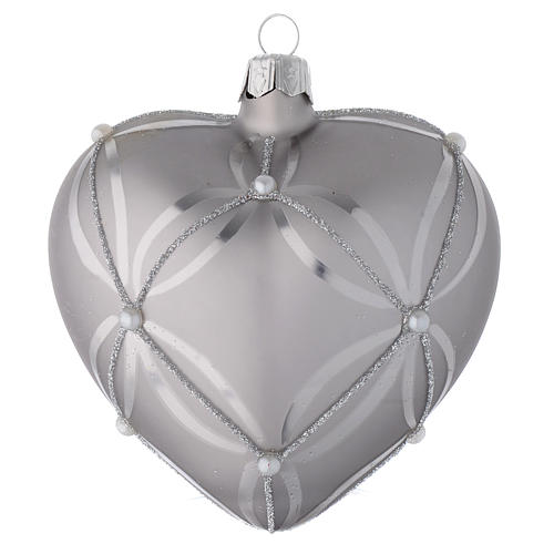 Heart Shaped Bauble in silver blown glass with shiny and opaque decoration 100mm 1