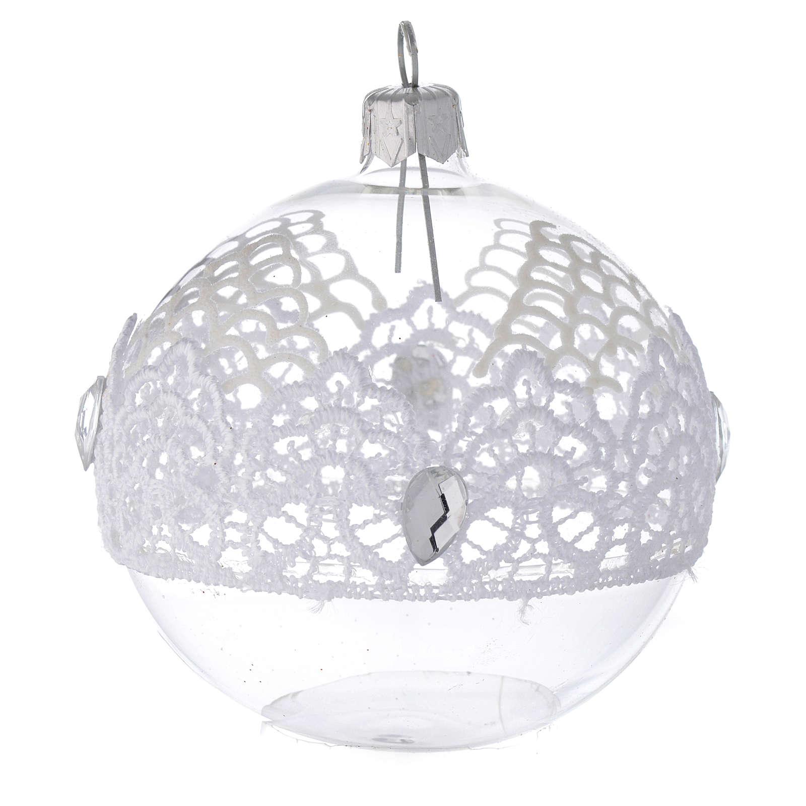Decoro Natale palla vetro soffiato merletto 80 mm 4
