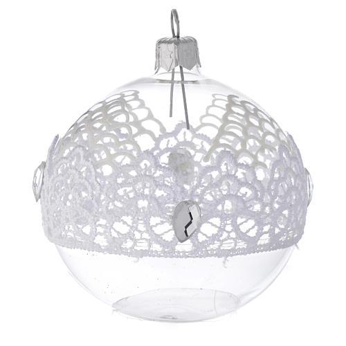 Decoro Natale palla vetro soffiato merletto 80 mm 1