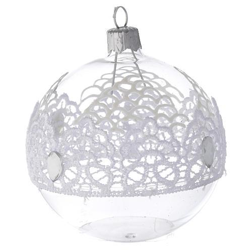 Decoro Natale palla vetro soffiato merletto 80 mm 2