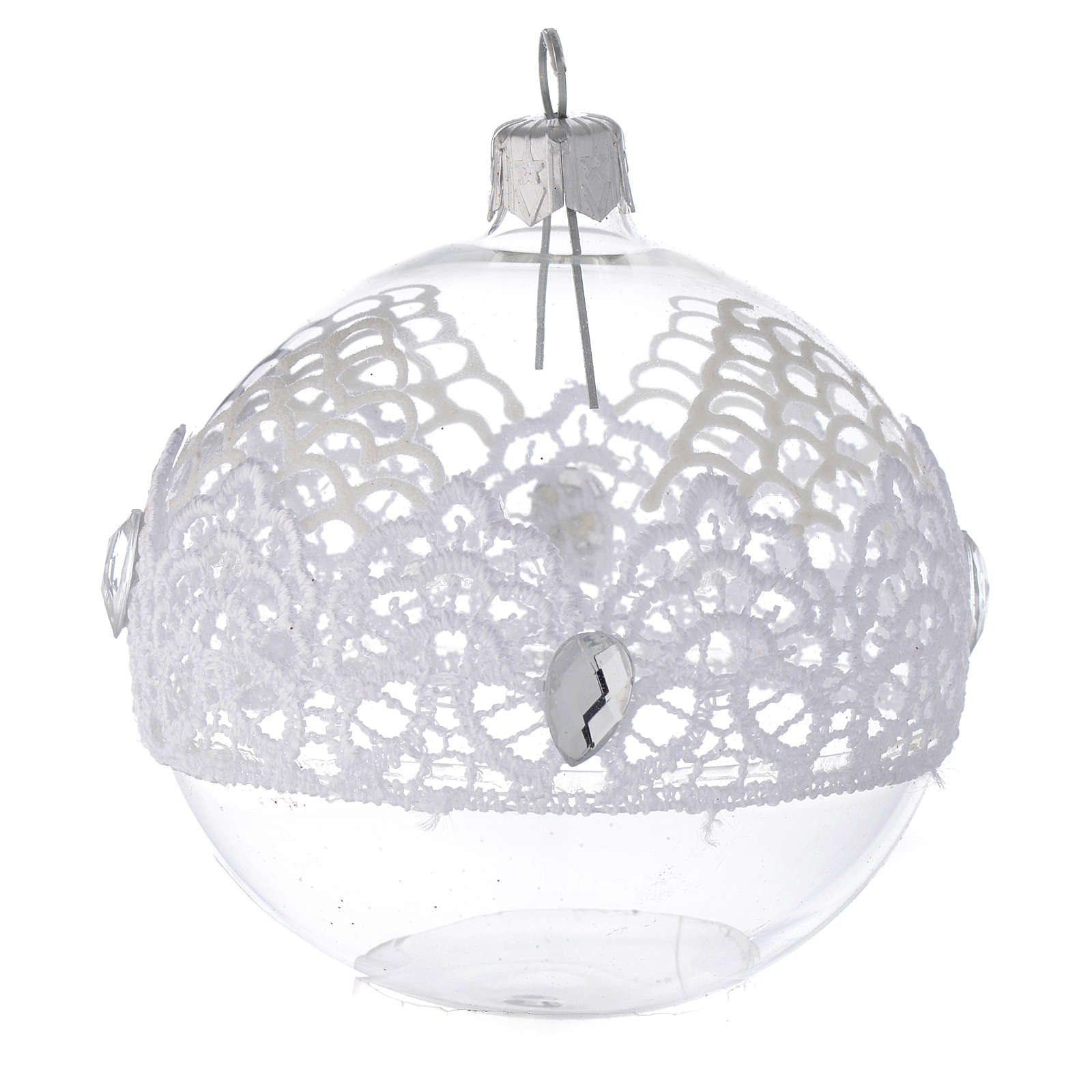 Bauble in blown glass with lace decoration 80mm 4