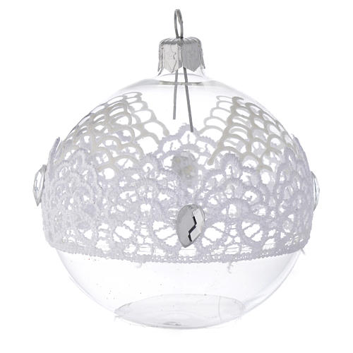 Bauble in blown glass with lace decoration 80mm 1