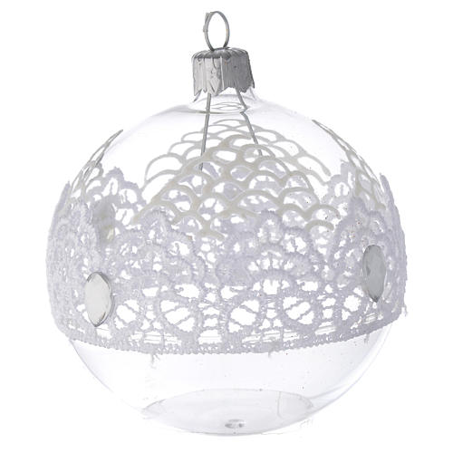 Bauble in blown glass with lace decoration 80mm 2