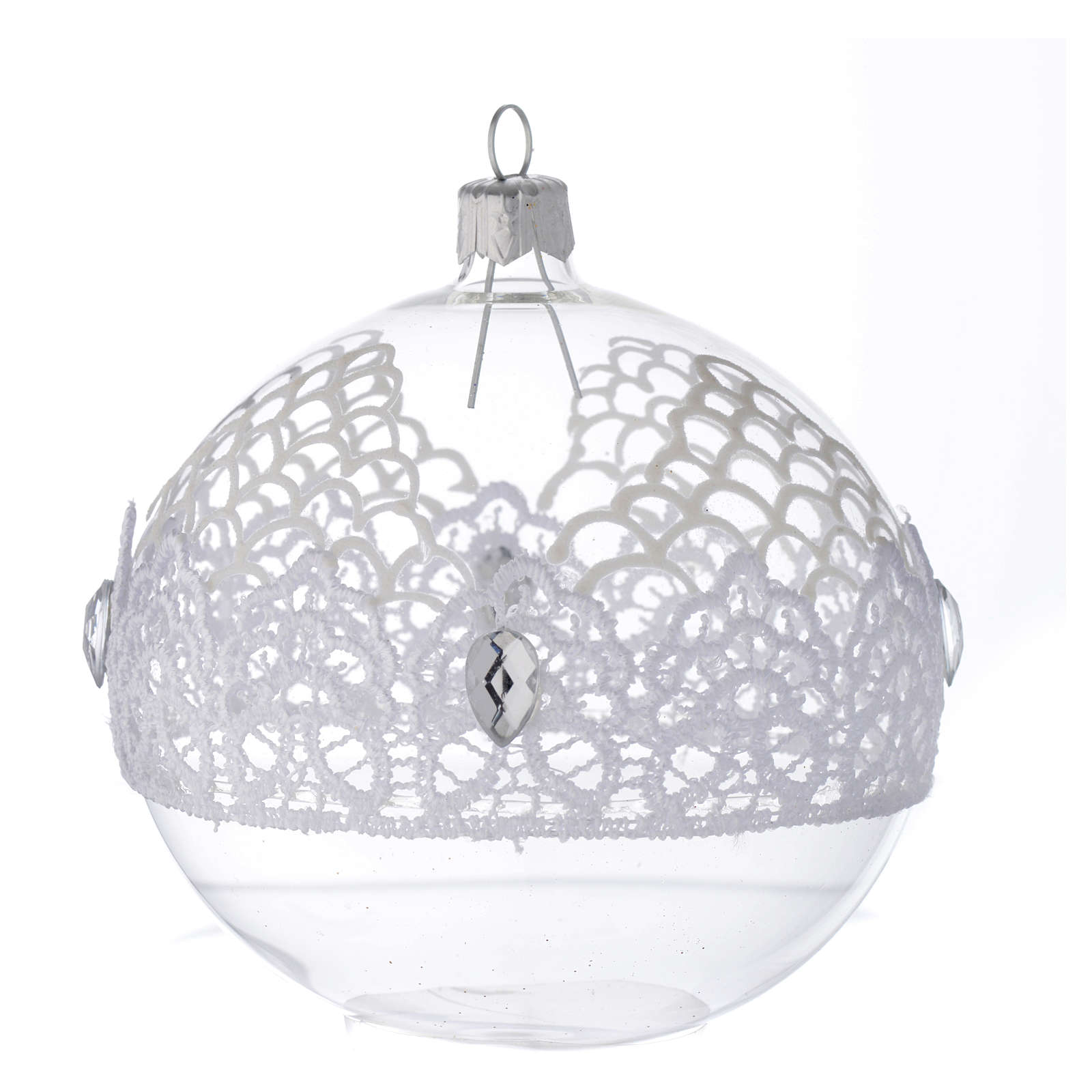 Bauble in blown glass with lace decoration 100mm 4