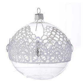 Bauble in blown glass with lace decoration 100mm s1