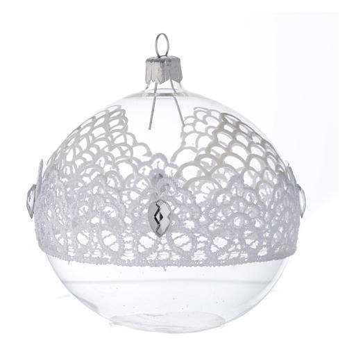 Bauble in blown glass with lace decoration 100mm 1