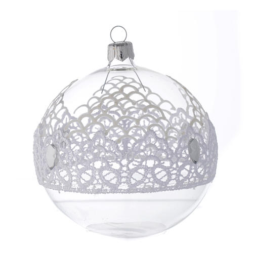 Bauble in blown glass with lace decoration 100mm 2