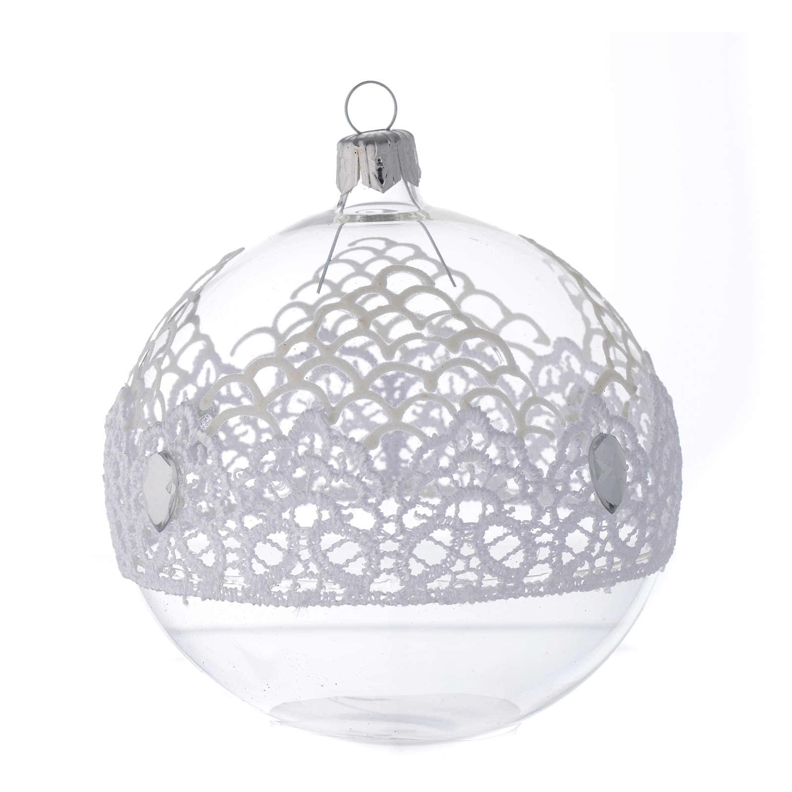 Palla Natale in vetro decoro merletto 100 mm 4