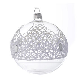 Palla Natale in vetro decoro merletto 100 mm s2