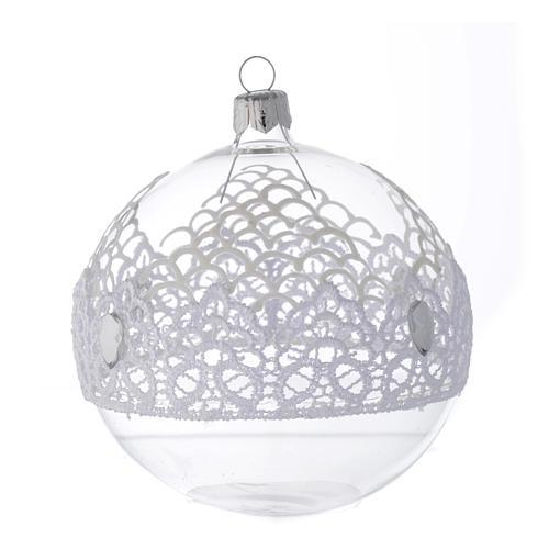 Palla Natale in vetro decoro merletto 100 mm 2