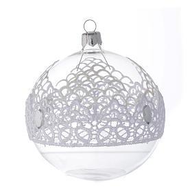 Bombka bożonarodzeniowa  szkło dmuchane dekoracje koronkowe 100mm s2