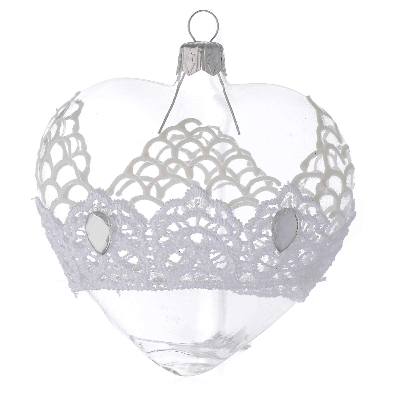 Adorno árbol de Navidad corazón de vidrio soplado con encaje 100 mm 4